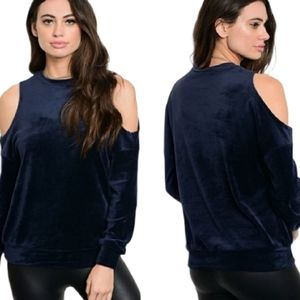Velour Cold Shoulder Sweatshirt